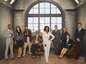 "SCANDAL - ABC's ""Scandal"" stars Columbus Short as Harrison Wright, Katie Lowes as Quinn Perkins, Guillermo Diaz as Huck, Darby Stanchfield as Abby Whelan, Kerry Washington as Olivia Pope, Joshua Malina as David Rosen, Jeff Perry as Cyrus Beene, Bellamy Young as Mellie Grant and Tony Goldwyn as President Fitzgerald Grant. (ABC/CRAIG SJODIN)"