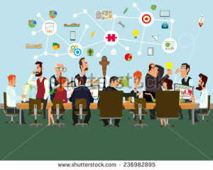 stock-vector-concept-of-the-coworking-center-business-meeting-shared-working-environment-people-talking-and-236982895